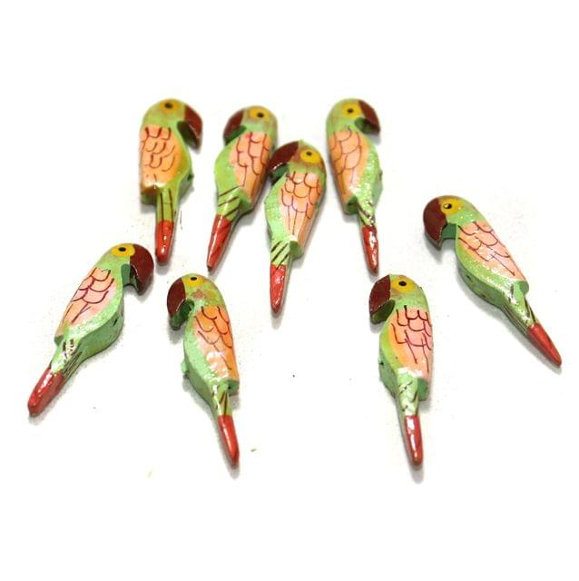 50 Pcs Parrots Wooden Beads, Size 1.5 Inches