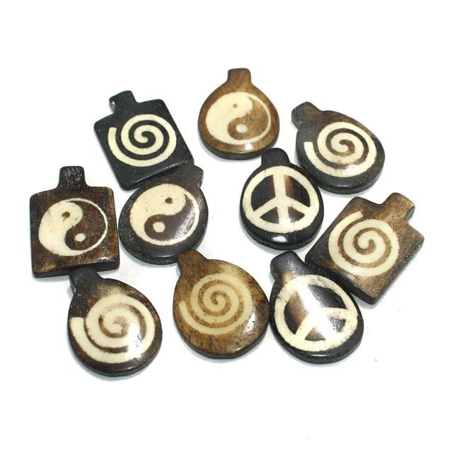 10 Pcs Bone Beads Assorted 34-32mm