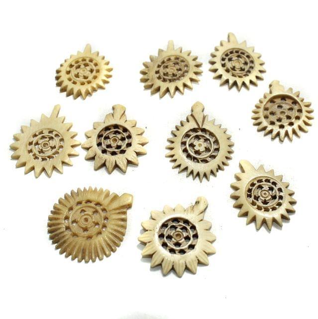 10 Pcs Flower Bone Beads 34x30mm