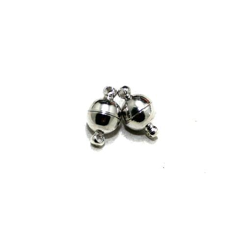 5 Pcs Magnetic Clasps Silver, Size 10x6mm