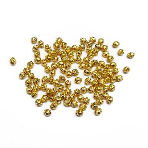 4mm, 50pcs, Designer Metal Beads