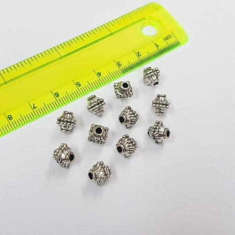 7mm, 10pcs, Oxidised Silver Beads
