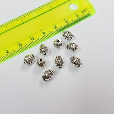8x6mm, 10pcs, Oxidised Silver Beads
