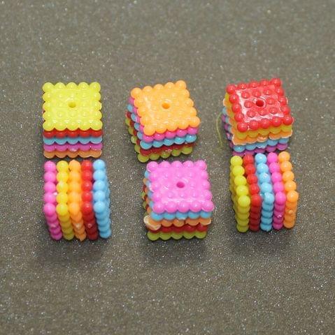 20 Pcs Acrylic Square Bead MultiColor 14x14 mm