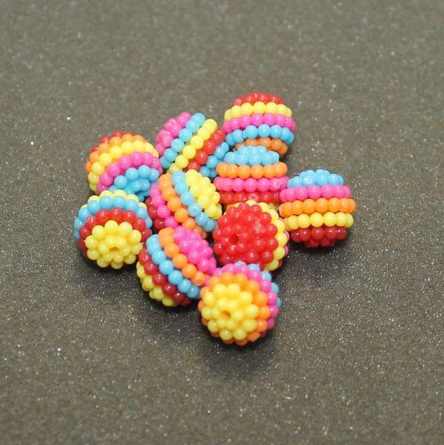 50 Pcs Acrylic Round Bead MultiColor 11 mm