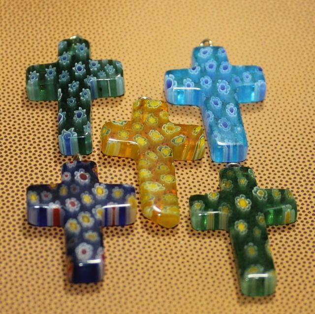 5 Pcs Millefiori Glass Cross Pendants MultiColor 26x20mm