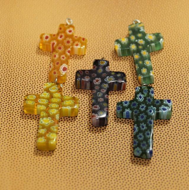 5 Pcs Millefiori Glass Cross Pendants MultiColor 28x20mm