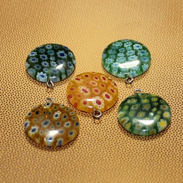 5 Pcs Millefiori Glass Coin Pendants MultiColor 20 mm