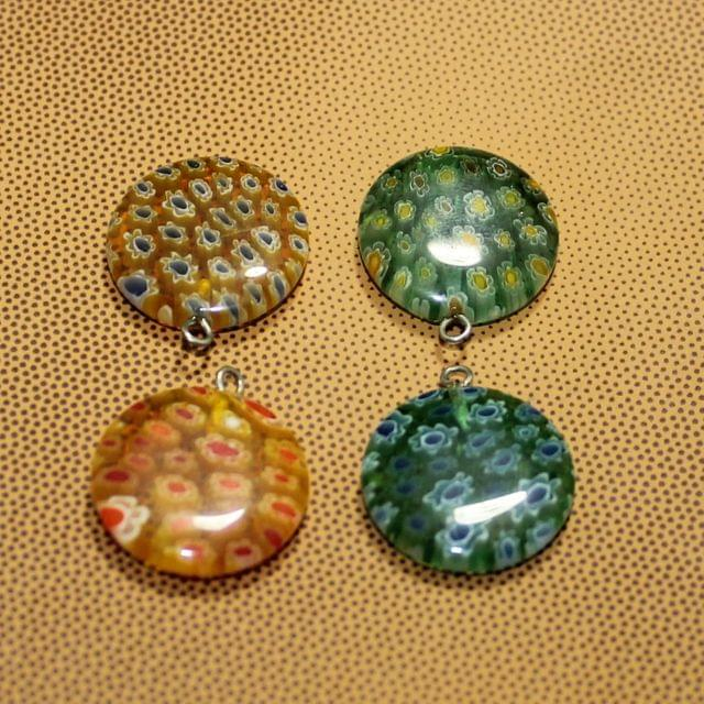 4 Pcs Millefiori Glass Coin Pendants MultiColor 20 mm