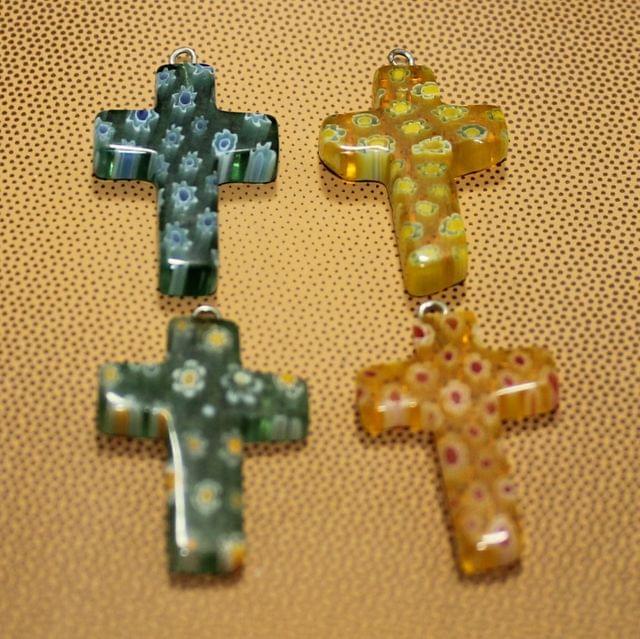 4 Pcs Millefiori Glass Cross Pendants MultiColor 28x20mm