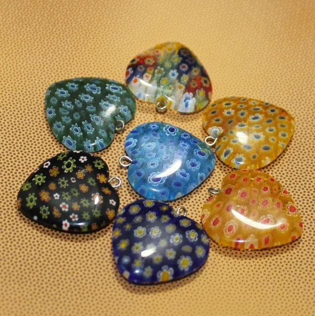 7 Pcs Millefiori Glass Heart  Pendants MultiColor 25 mm