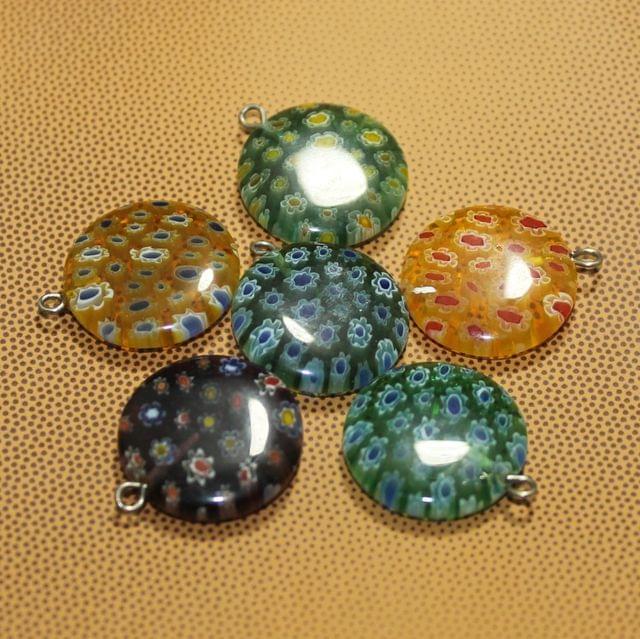 6 Pcs Millefiori Glass Coin Pendants MultiColor 20 mm