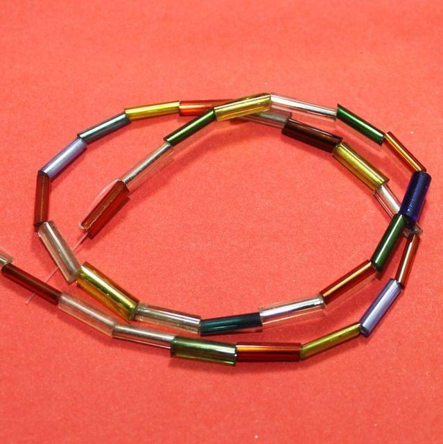 5 Strings Multi Color Tube Glass Beads 11x3mm