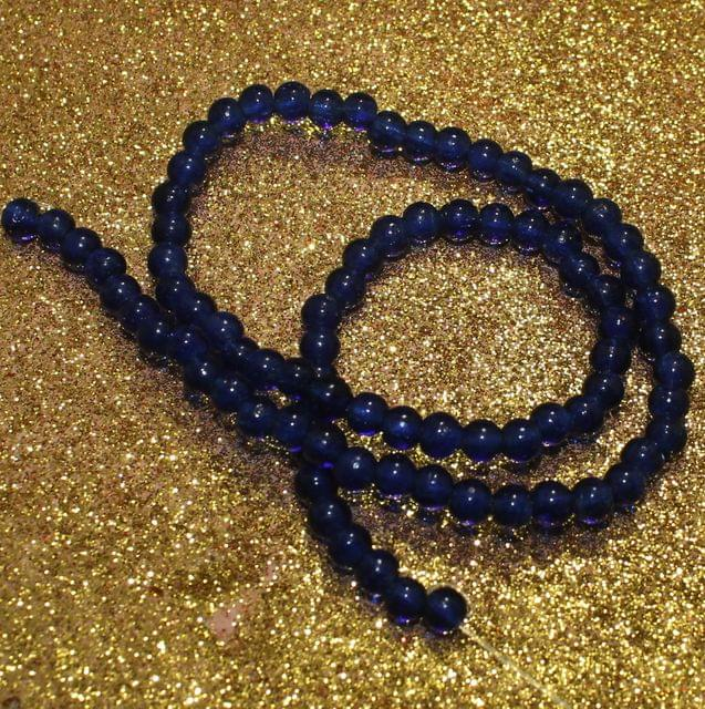 5 Strings Blue Round Glass Beads 4mm
