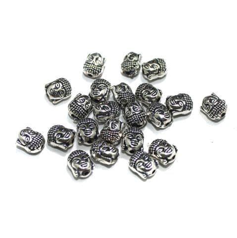 25 Pcs German Silver Buddha Beads, Size: 10x8mm