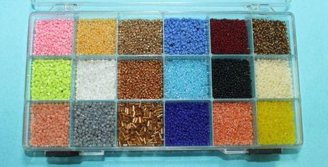 Glass Seed Beads For Jewellery Making, Embroidery & Crafts DIY Kit, size 11/0, Pack Of 18 Colours