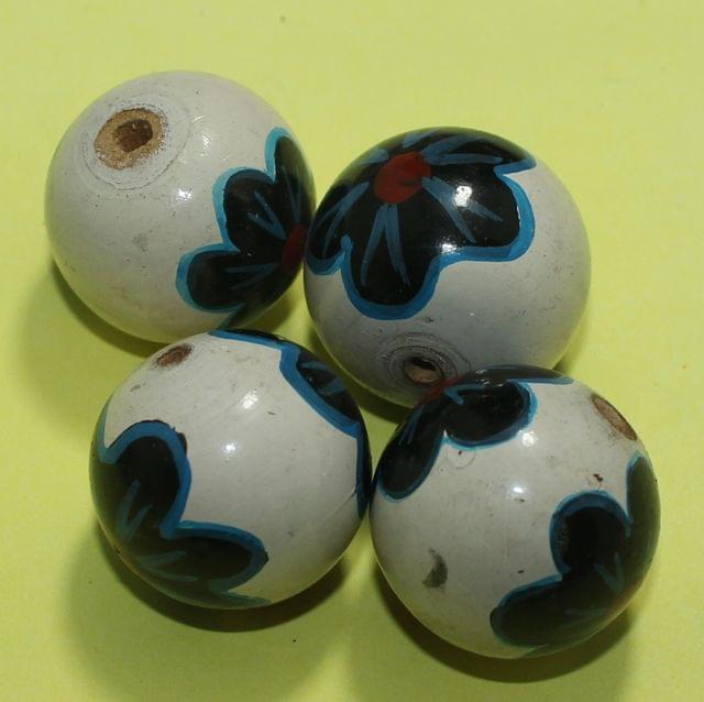 20 Pcs Wooden Round Beads White 30mm