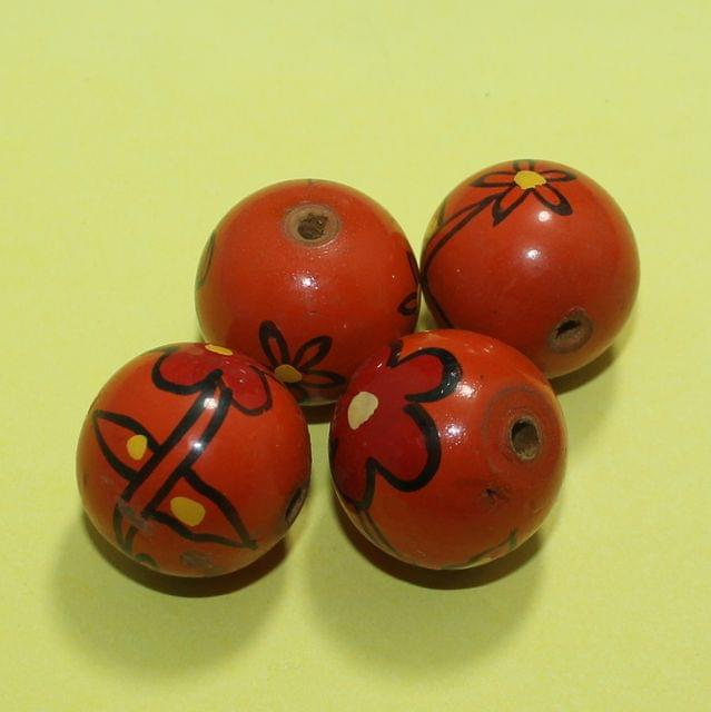 20 Pcs Wooden Round Beads Red 26mm