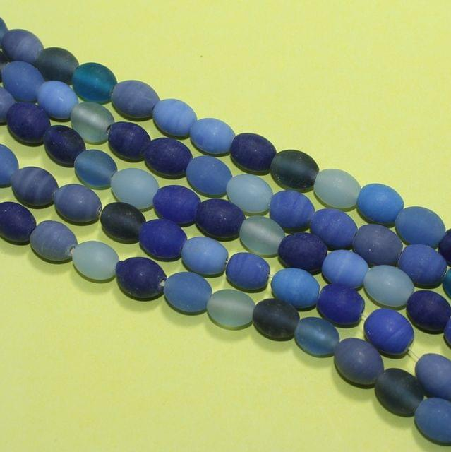5 Strings Blue Matte Finish Oval Glass Beads 10x8mm