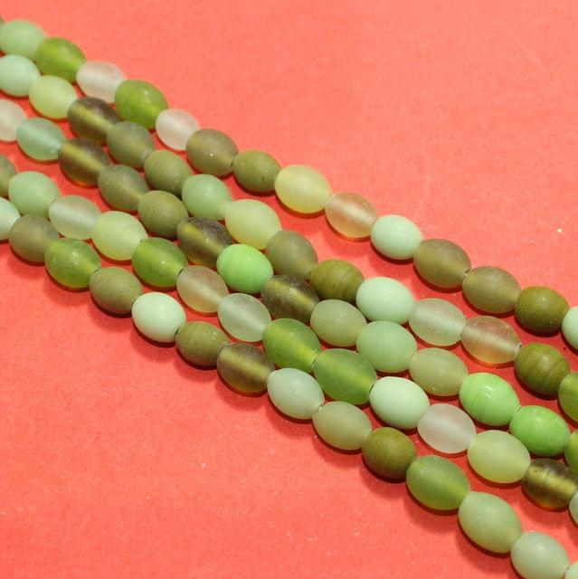 5 Strings Green Matte Finish Oval Glass Beads 10x8mm