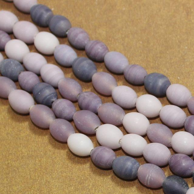 5 Strings PurpleMatte Finish Oval Glass Beads 10x8mm
