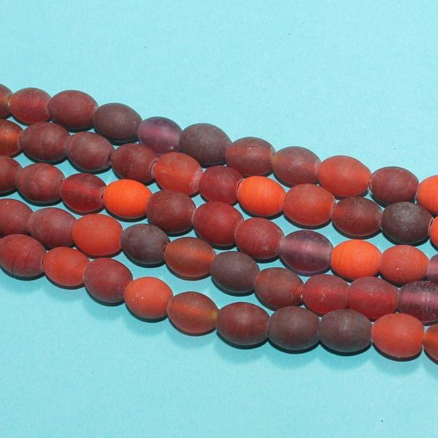 5 Strings Red Matte Finish Oval Glass Beads 10x8mm