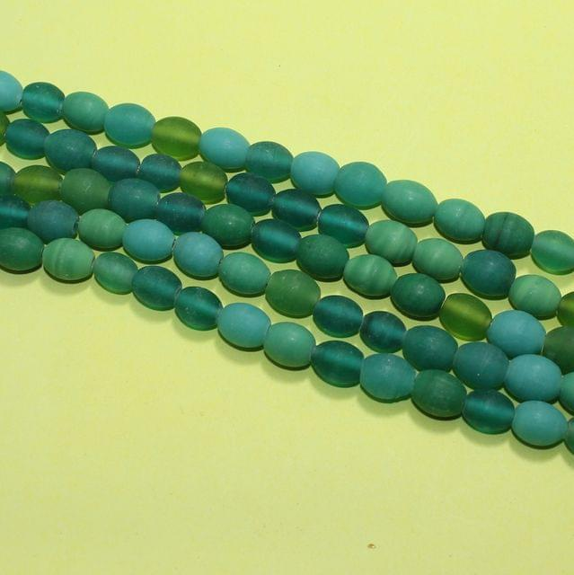 5 Strings Sea Green Matte Finish Oval Glass Beads 10x8mm