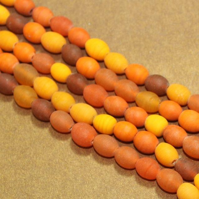 5 Strings Orange Matte Finish Oval Glass Beads 10x8mm