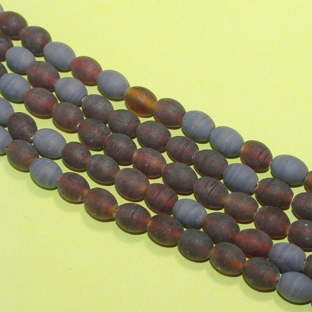 5 Strings Garnet Matte Finish Oval Glass Beads 10x8mm