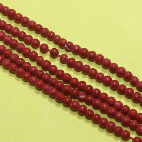 5 Strings Semiprecious Round Beads Red 2mm