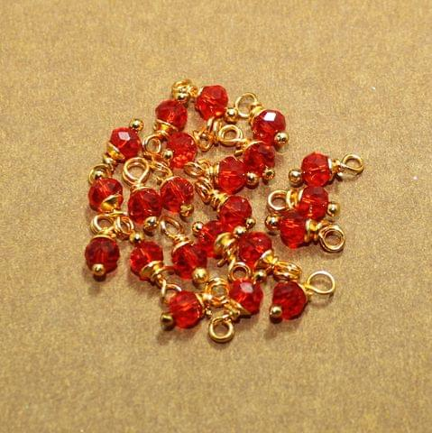 100 Pcs Red Crystal Faceted Loreal Glass Beads 6mm