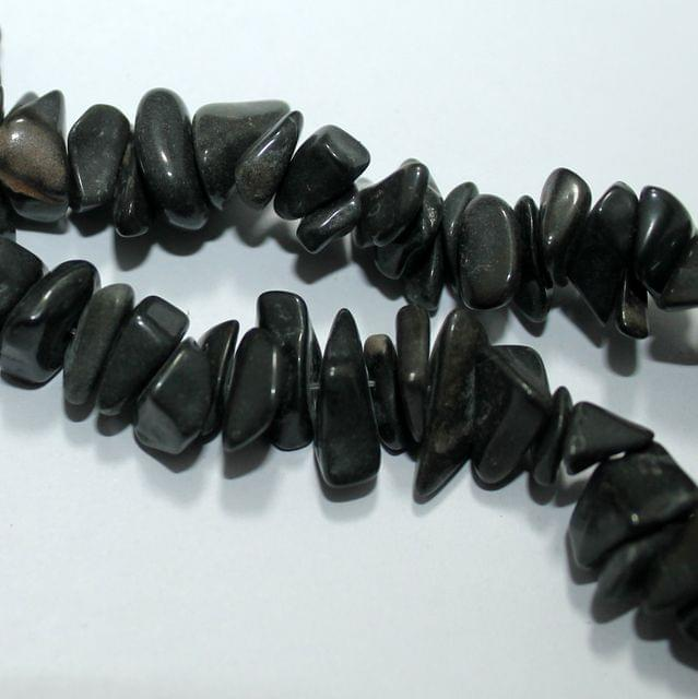 Black Stone Chips 2 Strings, 5-8mm, Approx 220+ Pcs