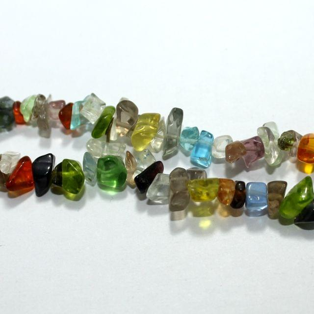 MultiColor Glass Chips 2 Strings, 5-8mm, Approx 240+ Pcs