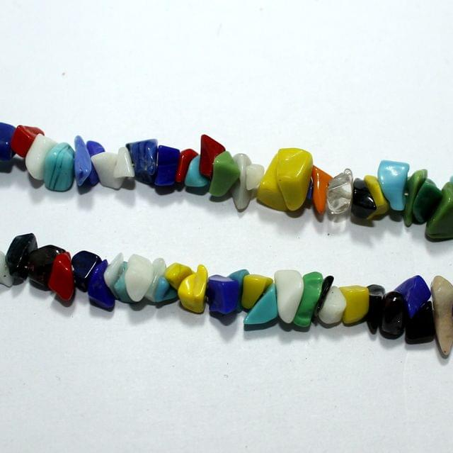 MultiColor Glass Chips 2 Strings, 5-8mm, Approx 320+ Pcs