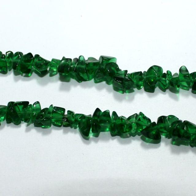 Green Glass Chips 2 Strings, 5-8mm, Approx 280+ Pcs