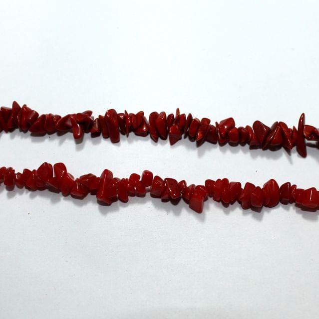 Red Glass Chips 2 Strings, 5-8mm, Approx 340+ Pcs
