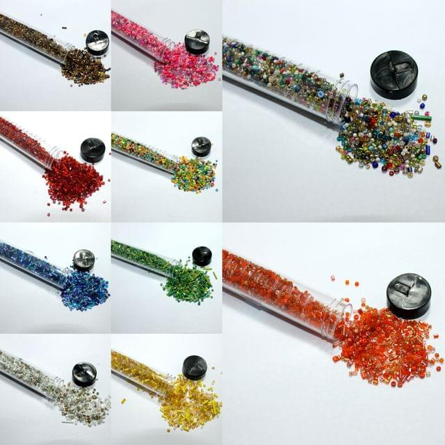 10 Colors Seed Beads Tube Combo Multicolor, Size 11/0