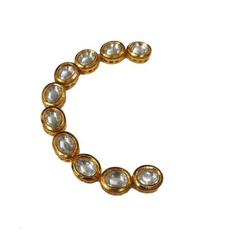 10pcs, 13x11mm Kundan Oval Chain