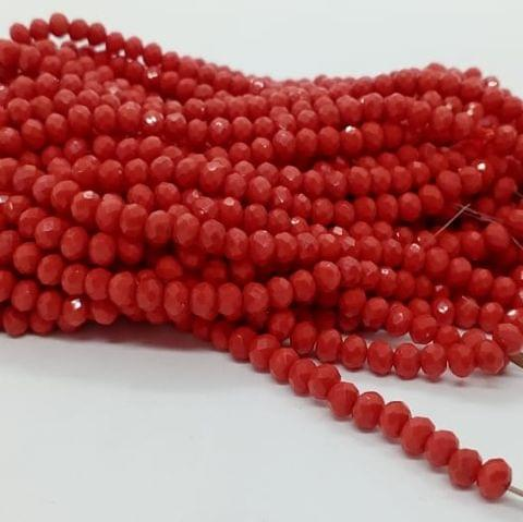 Red 5 Strings Crystal Beads 6mm Rondelle