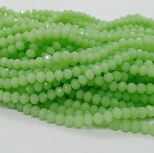 Parrot Green 5 Strings Crystal Beads 6mm Rondelle
