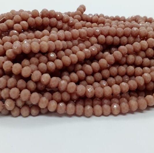 Dark Peach 5 Strings Crystal Beads 6mm Rondelle