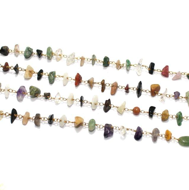 1 Mtr Multicolor Stone uncut Chips Beaded Chain