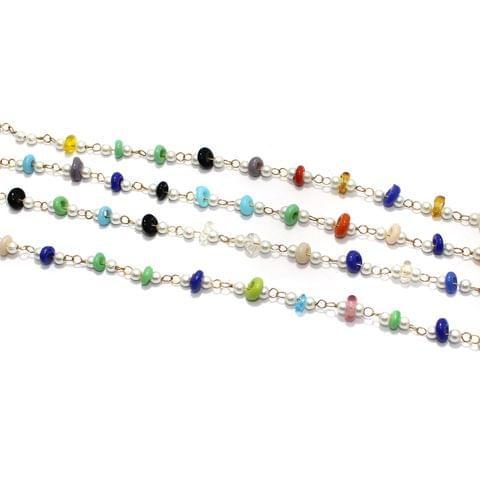 1 Mtr Multicolor Glass Beaded Chain