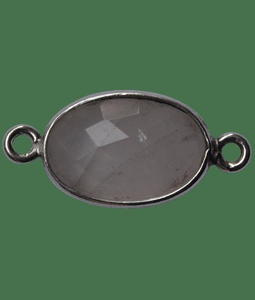 92.5 Sterling Silver Rose Quartz Connector