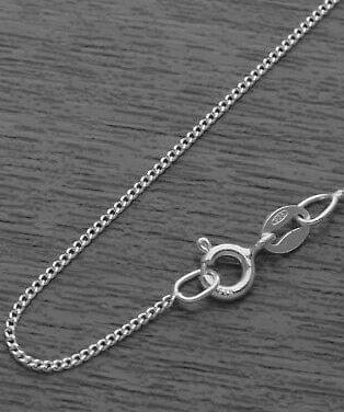 92.5 Sterling Silver 1.75mm Curb Chain 40 cms