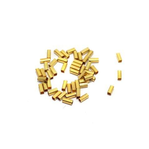 100 Pcs Golden Brass Tube Beads, 5mm