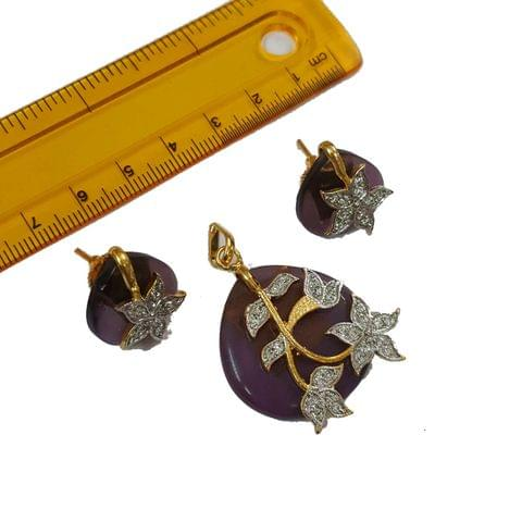 1 pc, AD Stone Pendant- 1.5 inches, Earrings- 0.5 inches