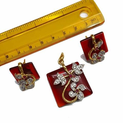 1 pc, AD Stone Pendant- 1.5 inches, Earrings- 0.75 inches