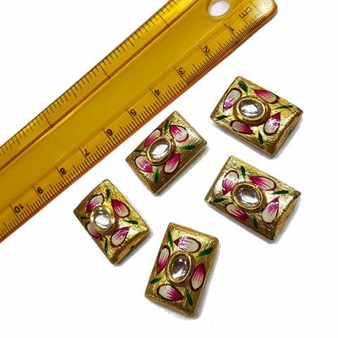 5pcs, 15x22mm Golden Handpainted Beads For Rakhi, Jewellery Making etc