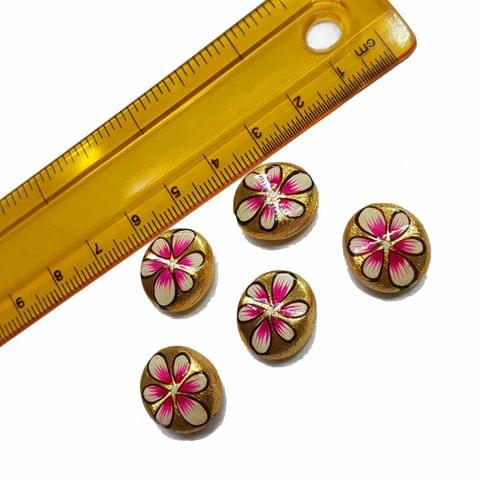 5pcs, 14x16mm Golden Handpainted Beads For Rakhi, Jewellery Making etc